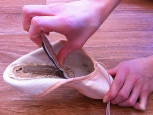 breaking in pointe shoes