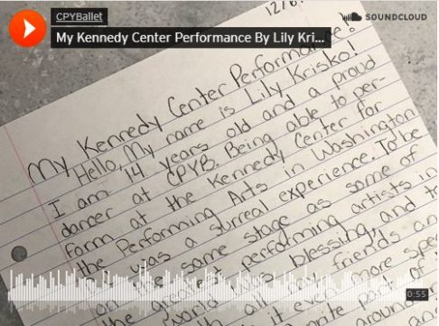 Kennedy Center Krisko CPYB student
